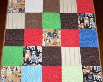 Quilted Table Runner, Doggie Quilt, Square Table Topper, Sale Priced, Dining Table Decor, 26x26 Inches, Machine Quilted