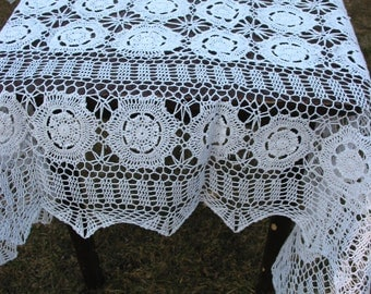 86inX60 in Hand Crochet White Tablecloth Vintage Wedding/Cottage/Victorian/Shabby/Boho/French Style,Tea Party