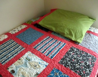 Boy Quilt , Pirate Quilt Set , Twin Size Boy Quilt