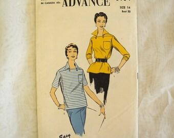 Vintage Advance 6934, sewing pattern, 1950s, blouse, sports shirt, women's, unprinted pattern, bust 32