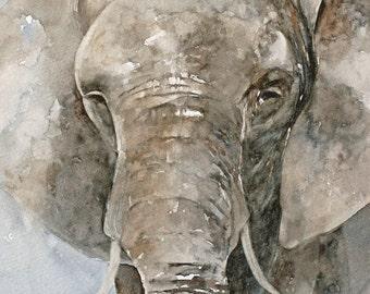 Acuarela ORIGINAL de pintura pintura acuarela original pintura acuarela animales elefante pintura arte 11 x 14 personalizado Comisión
