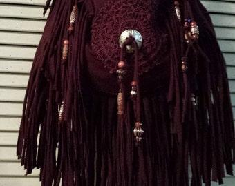 Reserved for Gaichu Ainoko, Deep Burgundy Fringe Shoulder Bag