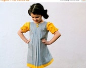 SALE Girls Dress- As Seen in Dilla Magazine- Retro Style Yellow Gold and Gray with Box Pleats- Kids Fashion- Handmade Indie Kids Ethical