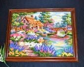 Vintage French Cottage in Garden of Flowers Needlepoint Wall Hanging
