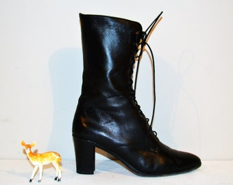 Vintage Boots Leather Black with Laces