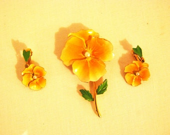 Vintage Yellow Pansy Brooch and Clip Earrings with Pearl