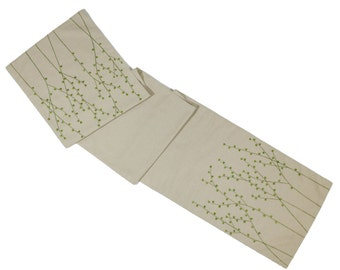 Linen Table Runner, Green Pussy Willow Embroidery Natural Linen Runner, Embroidered Linen, Long Table Runner, Custom Wedding Table Linen