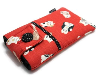 SALE & Ready to Ship - iPhone 7, 6, 6s case, Fabric iPhone Pouch - Maneki Neko, iPhone Holder - Black and White Japanese Lucky Cats on Red