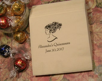 Quinceanera napkins Sweet 16 birthday napkins Bat Mitzvah napkins Set of 50 napkins Girls birthday napkins Set of 50