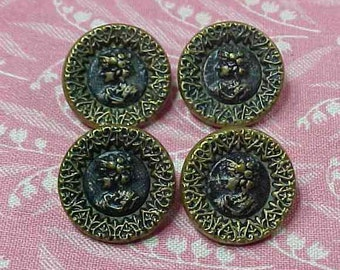 4 Victorian Brass and steel Girl Buttons Heart Pattern edge 2pc