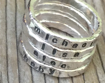 Personalized stacking rings, 3mm stackable ONE hand stamped fine silver rings, silver ring hand made to order- unisex jewelry custom stamped