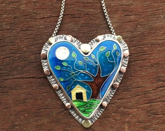 Cloisonne enamel heart necklace, home is where the heart is, cloisonne enamel heart jewelry, custom made jewelry