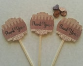 30 Favor Tags, Bridal Shower, Baby Shower, Communion, Baptism, Wedding, Burlap and Lace, Assembled on Picks, Rustic, Cupcake Toppers