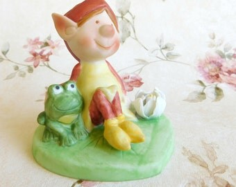 "Vintage Bisque Figurine, Himself the Elf  ""Good Friends"" 1979 Designer Collection Series II Elf on lilly pad with Frog & Flower"