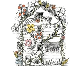 Flower House Detroit illustration art print