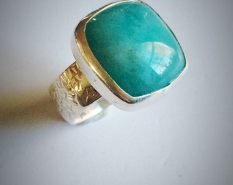 Sterling silver and square amazonite ring