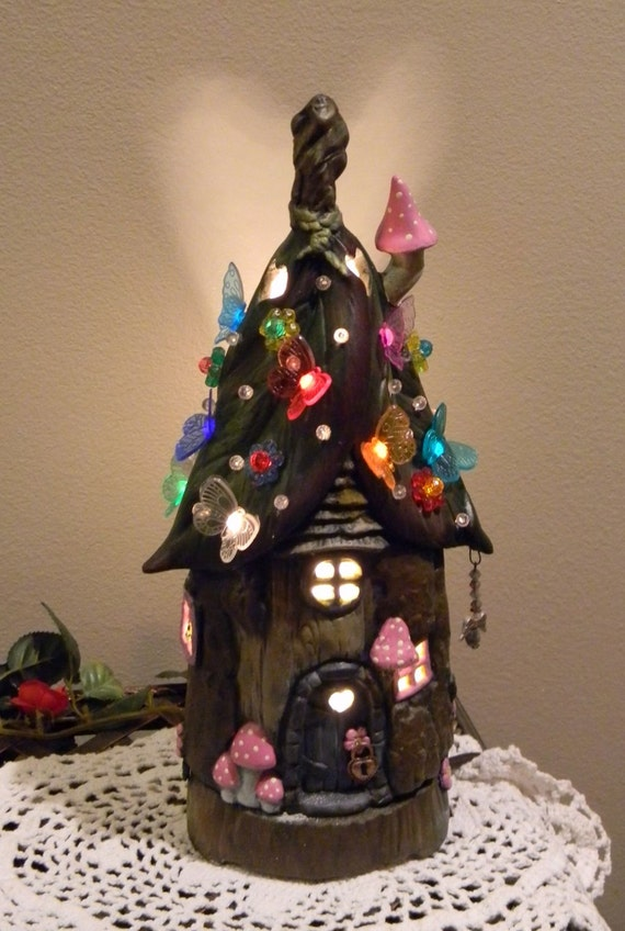 Fairy House Tree Stump Leaf Roof Dream Home Night Light