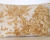 "18"" x 13"" Lumbar Rectangle Throw Pillow Toile Yellow Brown Autumn Decorative Accent French Country English Cottage Victorian Shabby Down"