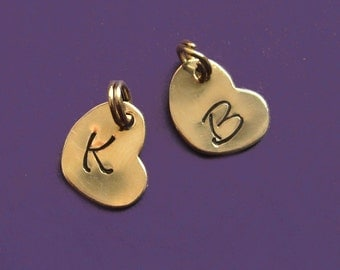 ONE Solid 14K Gold Tiny Personalized Initial Heart Charm