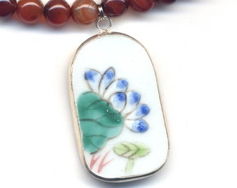 Qing Pottery Shard Pendant with Blue Lotus on Carnelian Necklace. OOAK Necklace, Porcelain Jewelry, Handmade Jewelry by AnnaArt72