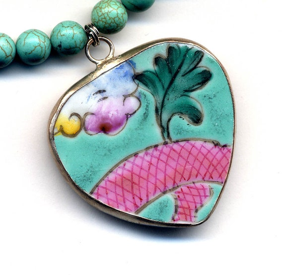 Heart Pottery Pendant on Turquoise Magnesite Necklace, Shard Jewelry, Floral Porcelain Pendant Necklace, Handmade Jewelry by AnnaArt72