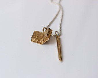 Author/Writer What I want to be Necklace in brass and silver