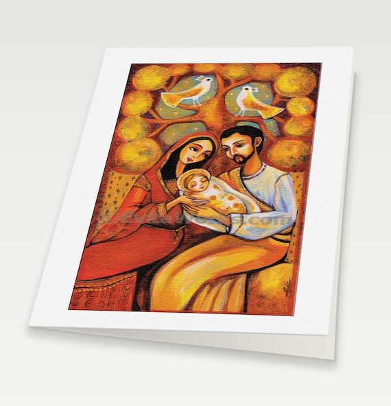 Nativity Holy Family Mary with Child Baby Jesus tree of life Religious painting Christian folk art, woman greeting card, blank art card, 6x8