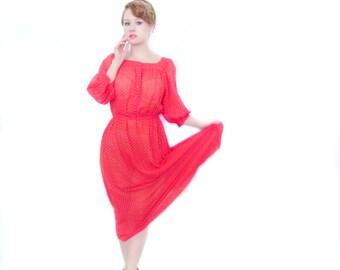 WINTER SPECIAL Red Polka Dot Sheer Gauze Gossamer Vintage Midi Dress