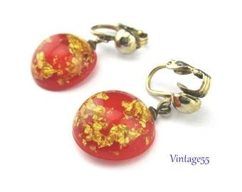 Earrings Orange Gold Lucite Confetti clip on