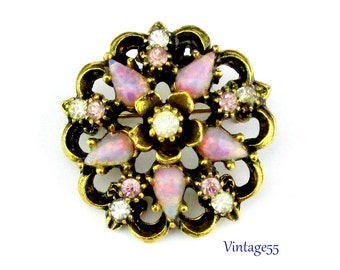 Brooch Pink Opal glass and Rhinestone 1940
