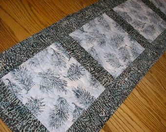 Quilted Table Runner, Blue and Gray Batik Runner,  12 1/2 x 41 1/2 inches