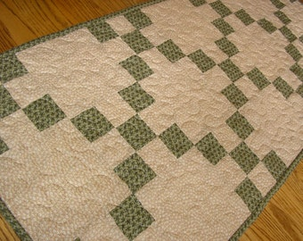 Quilted Table Runner, Green Irish Chain Runner, 18 x 41 inches