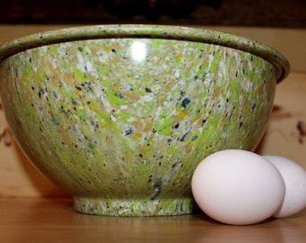 Melmac Speckled Bowl, Vintage Confetti Kitchen Bowl Green