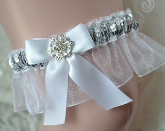 White Prom Garter With Silver Sequence -Prom Garter-Garter Belt-Silver And White Garter