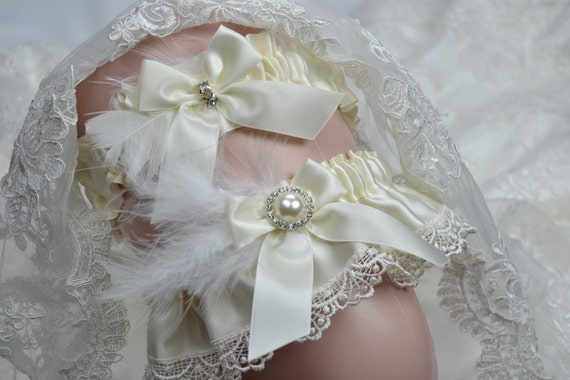 Wedding Garter Set -Ivory Satin And  Venice  Lace Bridal Garter- Ivory Garter Set