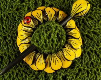 Floral Shawl, Scarf or Hair Pin Brilliant Bloom in Yellow