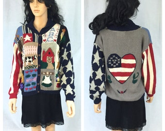 Vintage Country Home Life Hand Knit Sweater. Medium. American Flag. Cardigan Wood Buttons Sweater. Cow. Barn. Farm. Stars. Heart. Home
