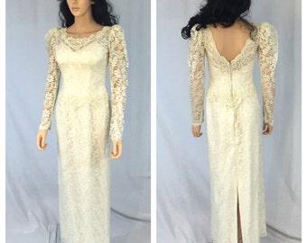 Vintage Off White Lace Wedding Dress. Long Sleeve Lace Dress. White. Wedding. Bridal. Formal. X-Small. 1980s. Open Back. Under 100 Wedding.
