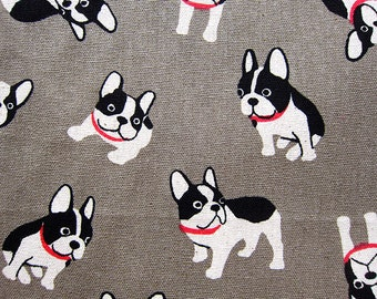 Animal Print Fabric By The Yard - Cotton Linen Blend Fabric - Pug Expressions on Gray - Fat Quarter