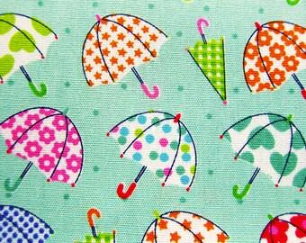 Japanese Fabric - Umbrellas on Mint Green - Cotton Fabric - Half Yard