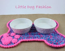 Feeding Mats for Dog, Placemat for Dog, Unique Dog Gift, Dog Christmas gift, Crochet, Dog Bone, Blue and Pink Ombre