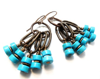 Turquoise and Brass Cluster Earrings