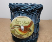 Candle, Soy Wax, Wicker, Bird Button,  Powder Scent, Bird Decor, Container Candle, Bird Lovers