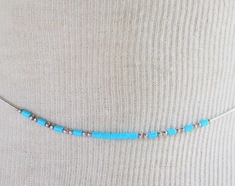 Sterling Silver Turquoise Liquid Silver Beads Native American Necklace Vintage