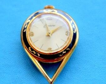 Vintage Endura Pendant Watch Wind Up Gold Black