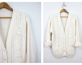 WHITE Sweater Button Up Cardigan Chunky Sweater Popcorn Knit Cotton Pocket Sweater Preppy Layering Fall Sweater Women's Size Medium Large