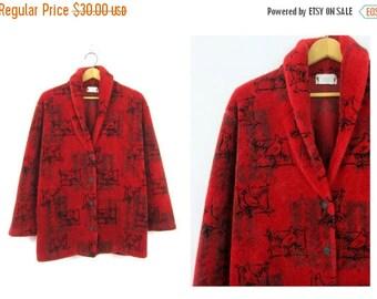 Red Cardigan coat oversized Graphic Nature print blanket sweater coat Fleece jacket Warm Fall Bird Print coat women's size Large