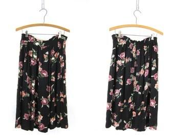 90s Floral Print Skirt Long Revival Flower Preppy Midi Skirt Black Pink Roses Graphic Boho Chic Soft Rayon Skirt Vintage 12 Medium Large