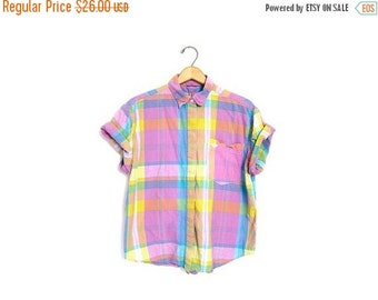 Plaid Button Down Preppy Shirt Short Sleeve Pastel 80s Top Vintage Blouse Pink Hipster Boho Preppy 1980s Women Small Medium