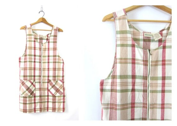 Vintage 90s plaid pastel Dress cotton Jumper preppy Mini Dress with front POCKETS White Dress Women's size Medium Large Dell's